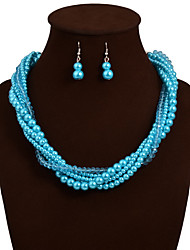 Elegant Weave Pearl Necklace Earrings Jewelry Set