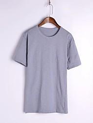 Damen Solide Sexy Lässig/Alltäglich T-shirt,Rundhalsausschnitt Sommer ½ Länge Ärmel Weiß / Schwarz / Grau Baumwolle / Leinen Dünn