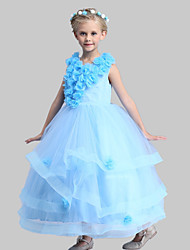 A-line Ankle-length Flower Girl Dress - Cotton Satin Tulle Jewel with Flower(s) Sash / Ribbon