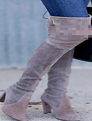 Stiefel-Outddor / Lässig-Leder-Niedriger Absatz-Modische Stiefel-Grau / Khaki