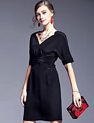 AFOLD® Women's V Neck Short Sleeve Knee-length Dress-5598