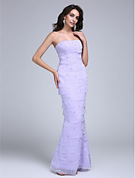 2017 TS Couture® Formal Evening Dress Trumpet / Mermaid Strapless Floor-length Chiffon with Beading / Tiers