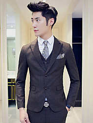 Suits Slim Fit Notch Single Breasted Two-buttons Cotton Checkered / Gingham 3 Pieces Straight FlappedNone (Flat