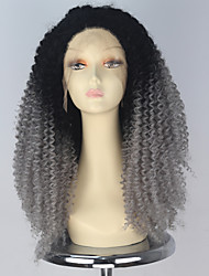55cm Synthetic Long Curly Hair Black Grey Lace Front Wig for Black Women Fashion Party Wigs