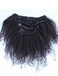 """10 """"-26"""" pinza afroamericano rizado rizado pelo 7pcs filipino vírgenes africano filipino en las extensiones de cabello humano real"""