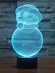 Snowman 3 D Lamp Energy-saving LED Illusion Lamp Originality Vision Three-dimensional Lamp Color-Changing Night Light
