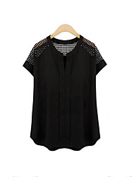 Women's Casual/Daily Plus Size Summer Blouse,Solid V Neck Short Sleeve White / Black Polyester Medium