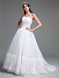 LAN TING BRIDE A-line Wedding Dress Lacy Look Court Train Strapless Tulle with Appliques