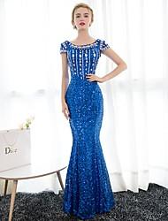Formal Evening Dress Trumpet / Mermaid Scoop Floor-length Satin / Sequined with Crystal Detailing