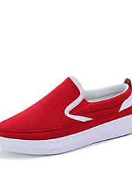 Men's Summer Comfort Fabric Casual Flat Heel Black Blue Red