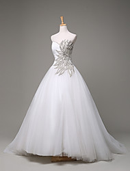 Ball Gown Wedding Dress Sweep / Brush Train Sweetheart Tulle with Beading