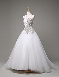Robe de Soirée Robe de Mariage  Traîne Brosse Coeur Tulle avec Perlage