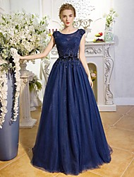 Formal Evening Dress A-line Jewel Floor-length Lace / Tulle with Sequins