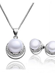 Platinum Plated diamond crystal ball flower pearl jewelry set for women party necklace/earring Bridal Jewelry Sets S025