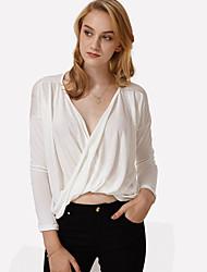 Tee-shirt Aux femmes,Couleur Pleine Décontracté / Quotidien simple Eté Manches Longues V Profond Rouge / Blanc / Noir / Gris Coton Opaque