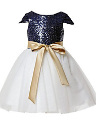 A-line Knee-length Flower Girl Dress - Tulle / Sequined Short Sleeve Scoop with Sash / Ribbon / Sequins