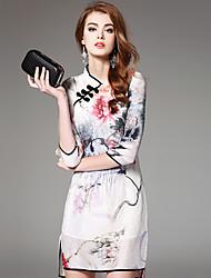 Ewheat® Mujer Escote Chino Manga 3/4 Sobre la Rodilla Vestidos-H2528
