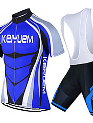 KEIYUEM® Fahrradtrikot mit Trägerhosen Unisex Kurze Ärmel FahhradAtmungsaktiv / Rasche Trocknung / Staubdicht / tragbar /