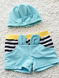 Boy's Beach Striped Swimwear,Nylon Summer Blue