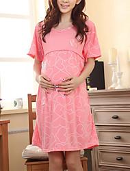 Maternidad Corte Ancho Vestido Casual/Diario Simple,Estampado Escote Redondo Sobre la rodilla Manga Corta Rosa / Rojo / Gris Algodón