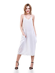 Women's Party/Cocktail Sexy Loose Dress,Solid Halter Maxi Sleeveless White / Black / Purple Cotton Summer