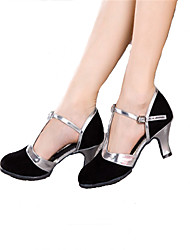 Customizable Women's Dance Shoes Latin / Samba Sparkling Glitter Cuban Heel Black / Blue / Brown