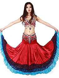 Belly Dance Bottoms Women's Cotton Draped 2 Pieces /Burgundy Belly Dance Sleeveless NaturalTop /