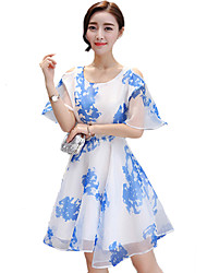 Women's Going out Cute Plus Size Dress,Print Round Neck Above Knee Short Sleeve Blue Polyester Summer