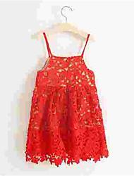 Girl's Red Dress,Print Cotton Summer