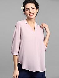 Baoyan® Femme Col en V Manches 3/4 Shirt et Chemisier Rose-888005
