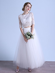 A-line Wedding Dress Ankle-length Jewel Lace / Tulle with Button