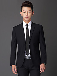 Suits Tailored Fit Slim Notch Single Breasted Two-buttons Viscose Solid 2 Pieces Black Straight Flapped Double