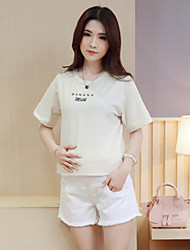 Maternity Simple Shorts Pants,Cotton Micro-elastic