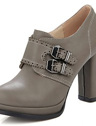 zapatos de mujer zapatos de tacón / plataforma / zapatos de tacón de punta redonda oficina&carrera / vestido / hebilla de tacón