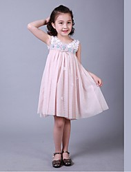 Sheath/Column Knee-length Flower Girl Dress-Cotton / Satin / Tulle Sleeveless