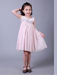 Sheath/Column Knee-length Flower Girl Dress-Cotton / Satin / Tulle Sleeveless