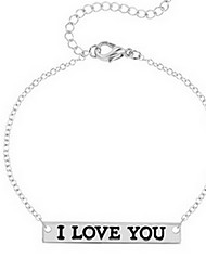 Kiming Korean Seweet Gold/Silver Chain L LOVE YOU Cuff Bangle Bracelet Jewelry