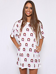 Women's Casual/Daily Cute Loose Fashion Sweet Dress,Print Round Neck Above Knee Short Sleeve