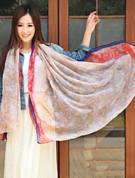 Cotton Long Women Pallium Voile Pink Print Scarf Silk