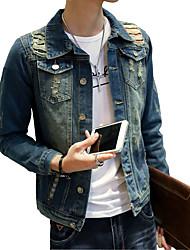 The new male hole slim denim jacket casual long size solid tide Korean loose coat jacket