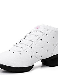 Women's Dance Shoes Sneakers Breathable Leather Split Sole Low Heel Black/Red/White