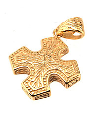 316L Stainless Steel Cross Pendant Gold Engraving Pattern