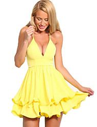 Women's Sexy / Beach Solid A Line / Skater Dress , Strap Mini Cotton / Others
