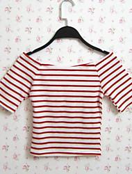 Damen Gestreift Sexy / Street Schick Lässig/Alltäglich T-shirt,Bateau Sommer Kurzarm Rot / Schwarz Baumwolle / Polyester Dünn