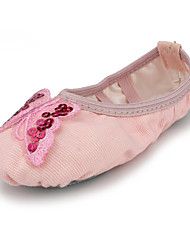 Kids' Dance Shoes Fabric Fabric Belly / Ballet Flats Flat Heel Beginner / Indoor Pink