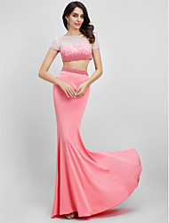 2017 TS Couture® Prom Formal Evening Dress Trumpet / Mermaid Bateau Sweep / Brush Train Jersey with Beading