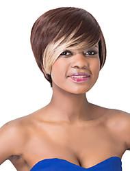 Европейский нарядно короткий коричневый Sythetic ломбера прямой парик партии боковой удар для женщин