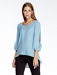 Herz Soul® Damen Rundhalsausschnitt 3/4 Ärmel T-Shirt Blau-11AA24472