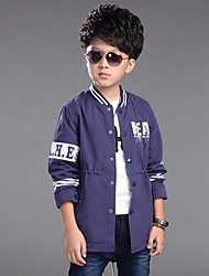 Boy's Casual/Daily Patchwork Print Letter Long Trench Coat