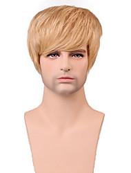 curta naturais peruca sem tampa cabelo considerável reta dos homens